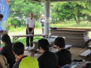 海藻塾の説明をする道林会長