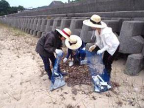 大串海岸での海岸清掃