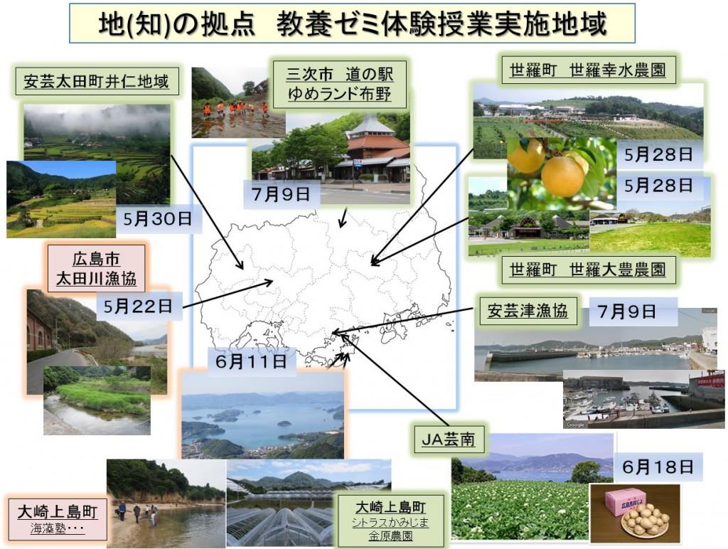 地(知)の拠点大学による地方創生推進事業 28教養ゼミ 実施地域一覧